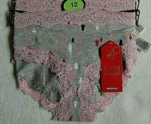 MARKS AND SPENCER LADIES COTTON RICH BRAZILIAN KNICKERS SIZE 12 GRAY/ PINK MIX