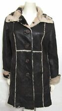 Laundry Shelli Segal Coat L Brown Shearling Faux Fur Animal Print Jacket 12 14