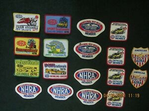 Drag Racing Memorabilia . Embroidered Patches. Lot of 18. 1970's Events. + Misc.