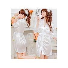 Woman's Satin Lace Robe & G - String / Size S - White