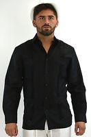 Mens Bohio Linen Black Classic Cuban Guayabera  (4)-Pocket Shirt (S~2XL)-MLS501