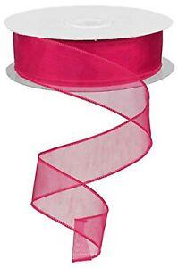 Sheer Organza Ribbon Wired. Color- Fuchsia. 11/2'' x 50 Yard