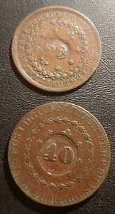 Early Brazil, Copper,  Counterstamped/Revalued, 80 And 40 Reis Coins, 1826R, 29R