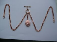 unusual double albert rose gold plated pocket watch chain fob tbar locket