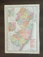 """Large 14 1/2"""" X 20 3/4"""" COLOR Rand McNally Map of New Jersey-1905"""