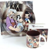 Walt Disney Classic Pinocchio and Gipetto Collector Porcelain Plate and Mug