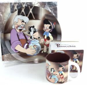 Walt Disney Classic Pinocchio and Gipetto Collector Porcelain Plate and Mug