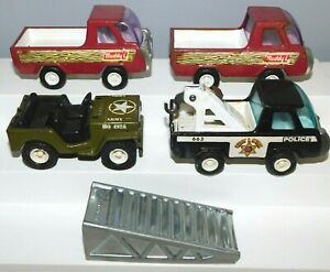 Old BUDDY L Corp., Assorted Trucks & Jeep, 1960s Metal & Plastic, 5 Pieces Japan