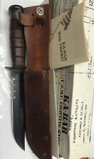 USMC KA-BAR US Marines Fighting Knife with Leather Sheath Orlean NY USA