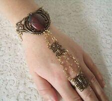 Bloodstone Hand Chain Slave Bracelet, victorian medieval renaissance art nouveau