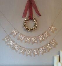 Christmas Merry Christmas Bunting Banner Hessian Burlap