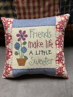Lizzie Kate Cross Stitch Cushion Friends Make Life A Little Sweeter