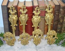 One Pair Antique French Large Gilt Bronze Tie Back Hooks Drapery Floral 2 Avail