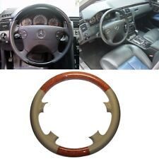 Tan Leather Brown Wood Steering Wheel Cover 00-02 W210 E 200 E320 97-02 C208 CLK