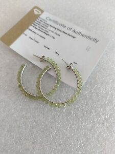 925 Sterling Silver Peridot Bead Hoop Earrings Ltd Edition & Gem Certified 35mm