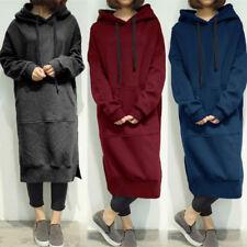 5f24759ea ZANZEA Women Hooded Pullover Hoodies Tops Sweatshirt Fleece Long Dress Plus  Size