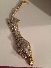 Beautiful Runway Rhinestone Jointed Jungle Cat Bracelet Modern Jewelry