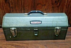 VINTAGE CRAFTSMAN 6520 COFFIN STYLE METAL TOOL BOX WITH TRAY *RARE FIND* MANCAVE