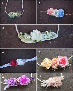 Newborn Baby Girl Flower Headband Tiebacks for Organic photo prop accessory