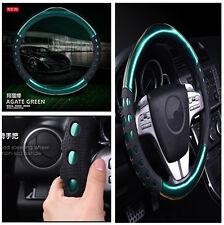 1X 38cm PU Leather Non-slip Handle Green Auto Car Steering Wheel Cover Interior