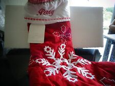 Pottery Barn Kids quilted stocking snowflake Christmas   monogram Perry  New