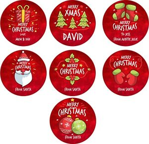 Personalised Christmas Xmas Stickers Santa Presents Labels Gifts Red Gift GLOSS