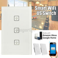 US Plug WIFI Smart Wall Touch Panel Switch Remote Control For Alexa Google
