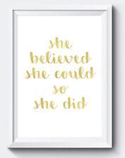 Ella creía que podía así que ella hizo presupuesto impresión de efecto de oro A4 Pared Arte Regalo