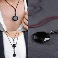 Fashion Black Natural Obsidian Hexagram Pendant Necklace Sweater Chain Jewelry