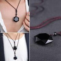 Men Women Natural Hexagram Black Obsidian Stone Pendant Necklace Reiki Jewelry