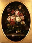 19th CENTURY FRENCH OIL ON CANVAS - STILL LIFE FLOWERS IN  GLASS VASE