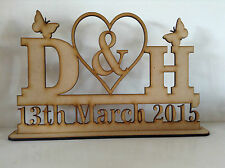 N MDF, Personalised Wedding Sign on a stand with Heart and butterflys