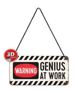 28007 Placa con cadena 10x20 genius at work nostalgic art coolvintage