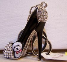 Bichon Frise hand painted  crystal key chain stiletto charm