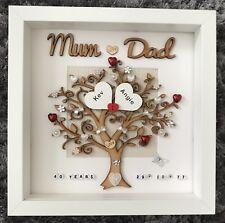 Personalised Handmade Ruby 40th Wedding Anniversary Gift Frame MUM DAD