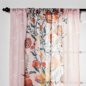 """1 Opalhouse Daisy Floral Sheer Curtain Panel 108"""" New Pink"""