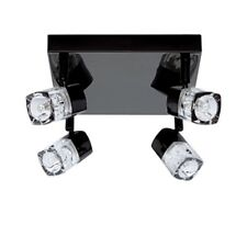 BLACK CHROME FINISH 4 LIGHT HALOGEN SPOTLIGHT WITH ICE CUBE STYLE GLASS  7884BC