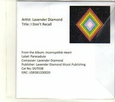 (DT482) Lavender Diamond, I Don't Recall - 2013 DJ CD