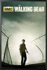 Walking Dead Fence Prison Andrew Lincoln Poster in Black Wood Frame 24x36