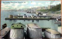 1910 Postcard: Boat Landing, Water Front - Evansville, Indiana IN