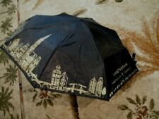 Vintage Black Poly Umbrella with (Amsterdam in gold plus city scene Fold Up