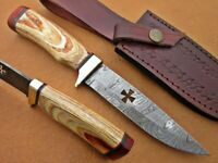 Custom Handmade Damascus Steel 8 inches knife With  Leather Cover