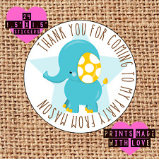 Personalised 24 elephant party bag stickers sweet cone labels thank you blue be