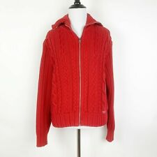 Blue Willi's Cable Knit Sweater Cotton Wide Collar Full Zip Pullover Red Size M