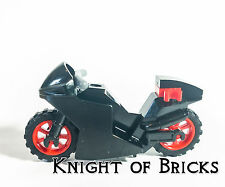 Lego City Motorcycle Black Fairing Dirt Cruiser Bike Red Rims Town City