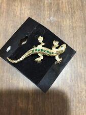 Gold Tone Lizard with Green Rhinestones Pin Brooch