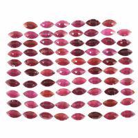 78 Pcs Natural Garnet 9.5mm/5mm Marquise Rose Cut Sparkling Loose Gemstones Lot