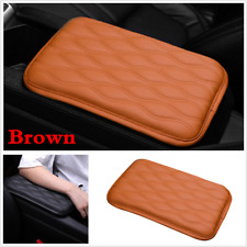 Waterproof Car Armrest Pad Cover Auto Center Console PU Leather Cushion Brown