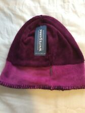 White Sierra Cozy Beanie Clover Dark Purple Slouchy Fit Size Small New