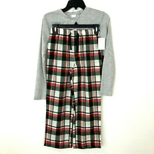 Rachel Parcell Kids Pajama Set Gray Winter Plaid Flannel Holiday Size M 8 10